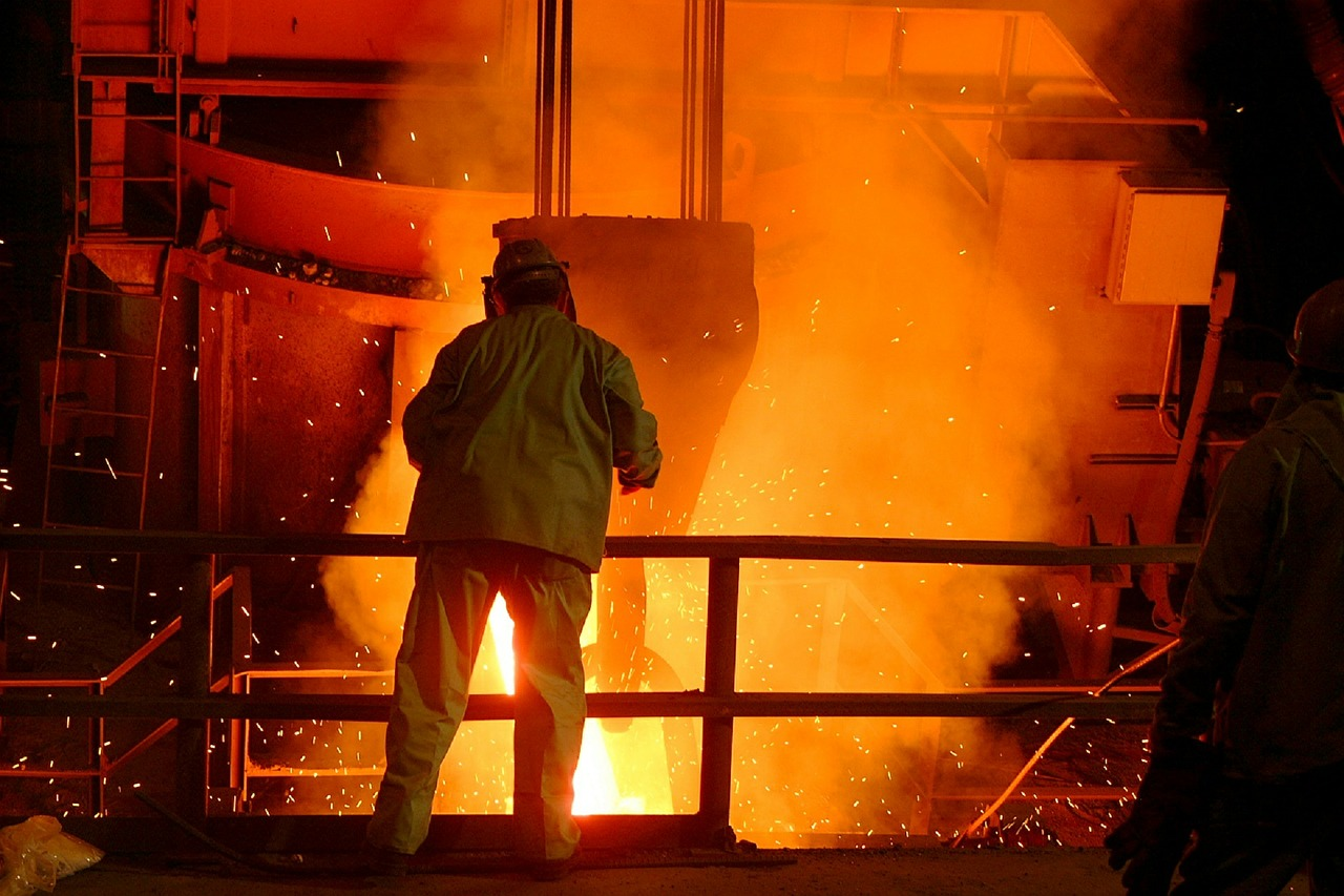 man inside of a foundry