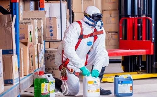 Man in Protective Hazardous Waste Gear