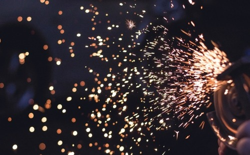 Sparks Flying with a Black Background