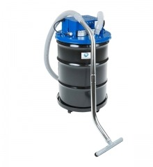 Black vacuum with hose and blue cap attached